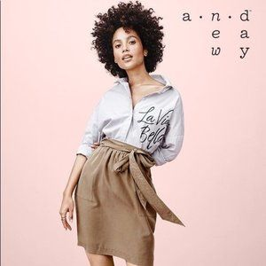 A NEW DAY TAN HIGH RISE PAPER BAG BELTED SKIRT